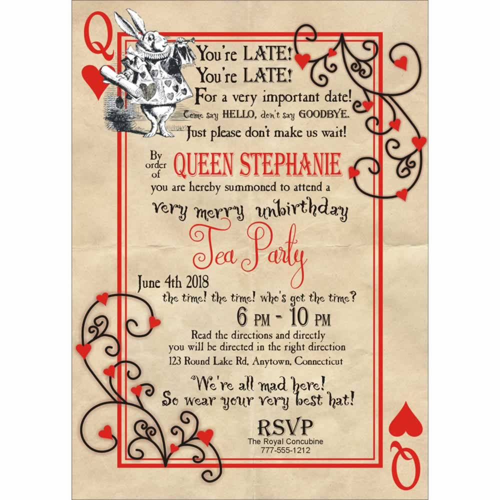Fairy Tale Tea Party Invitation Queen