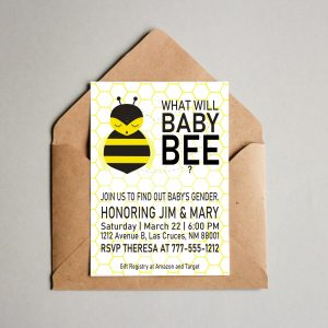 What Will Baby Bee Gender Reveal Invitation